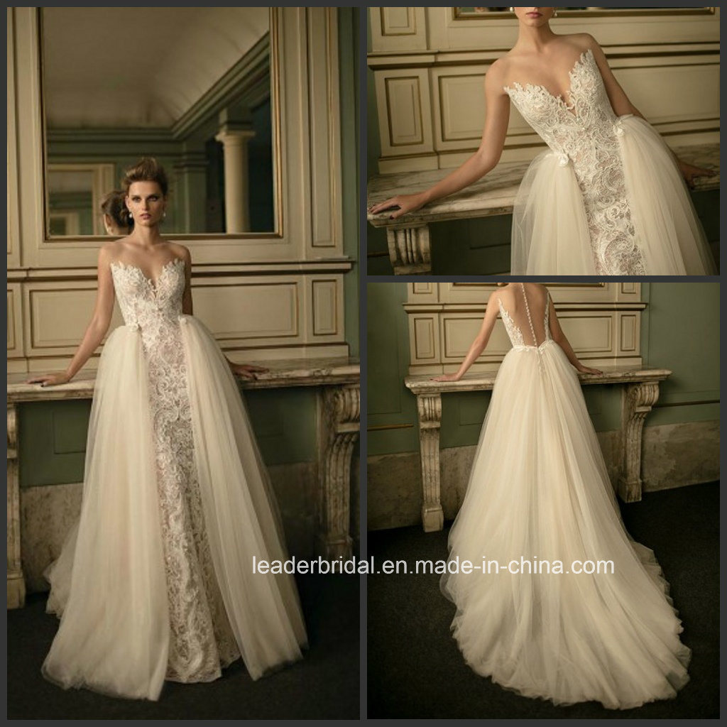 China Sheer Back Lace Wedding Gown Distouchable Train Bridal Dress ...