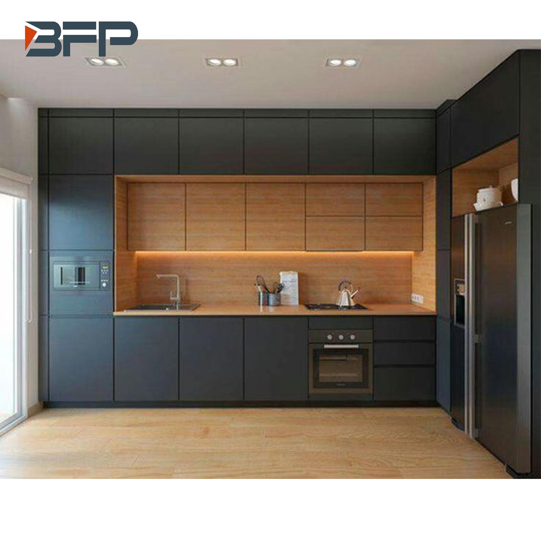 Hot Item Modern Style L Shape Color Mix Free Handle Kitchen Cabinet Bmk 83