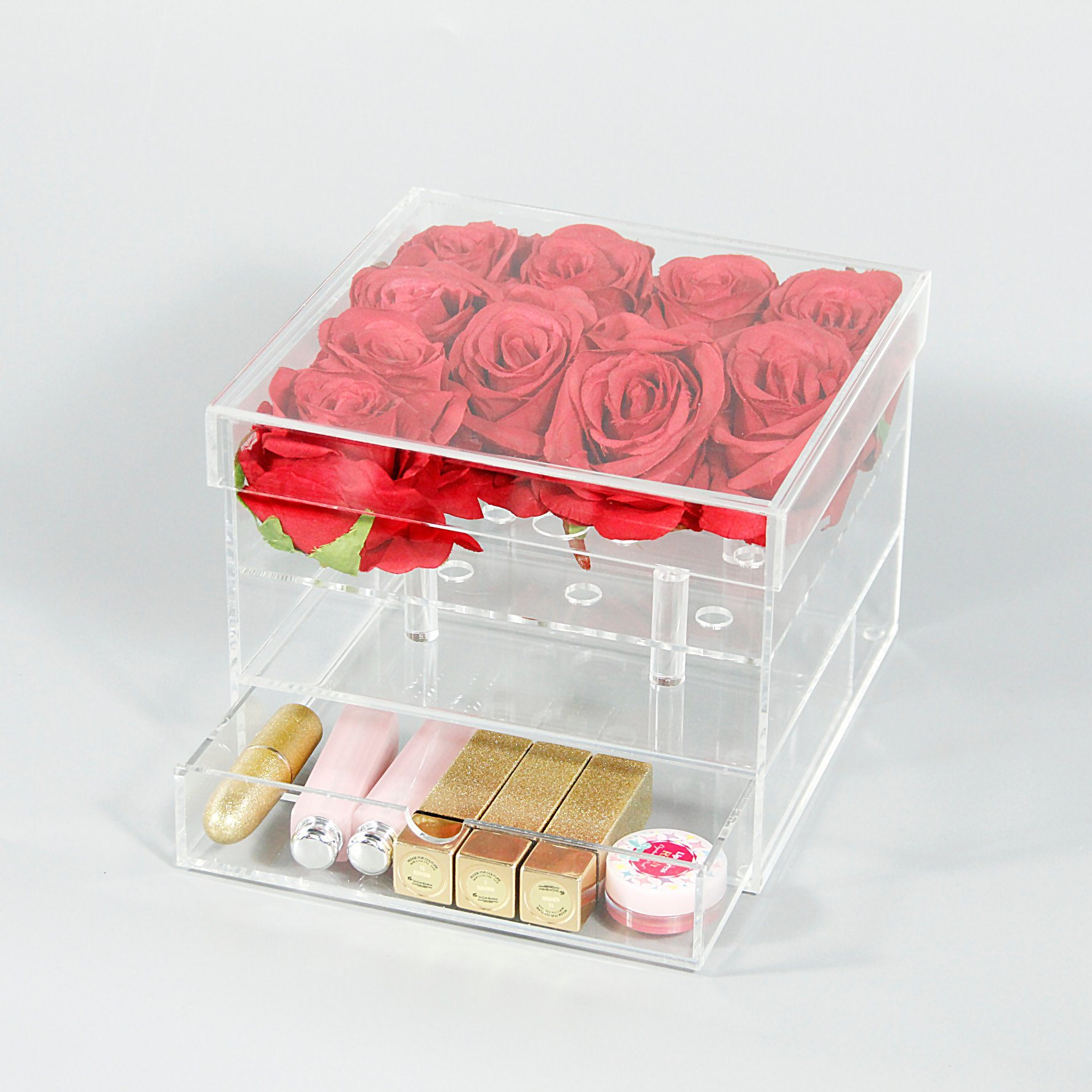 China Transparent Acrylic Wedding Rose Flower Box/Case with Drawer ...