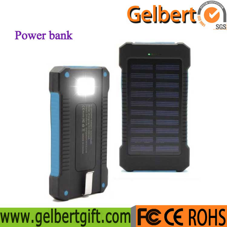 [Hot Item] 10000mAh Torch Light Portable Emergency RoHS Solar Cell Phone  Charger Power Bank