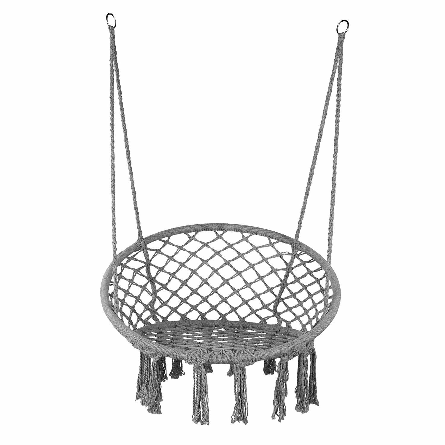 China Grey Swing Hammock Chair Macrame Heavy Duty Hanging