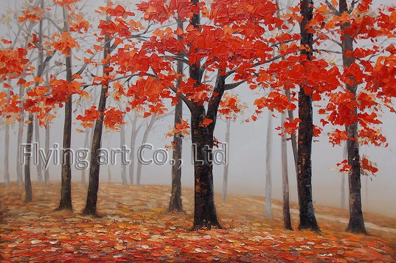 100% Hand-Painted Canvas Oil Painting Wall Art for Trees