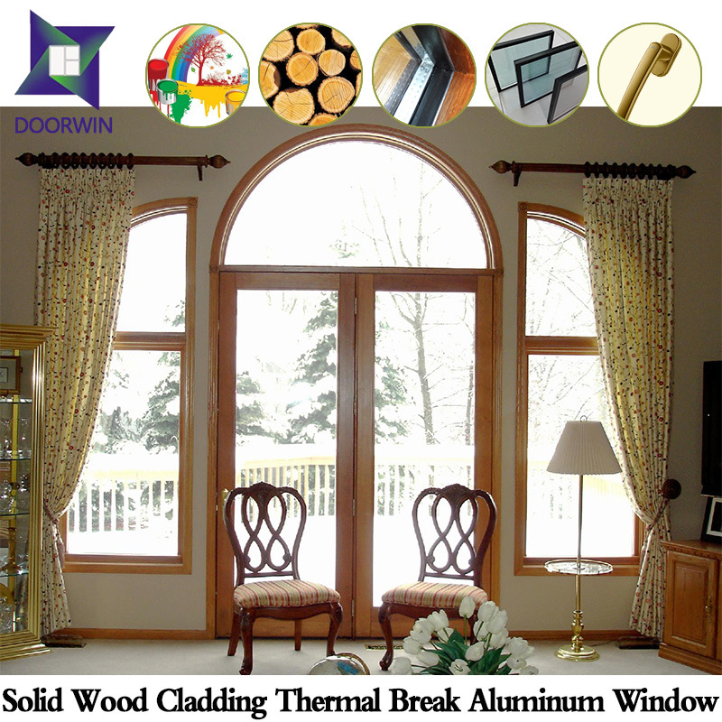 Wood Color Thermal Break Aluminum Sliding Window for Villas, Customer Made Thermal Break Aluminum Window with Solid Wood pictures & photos