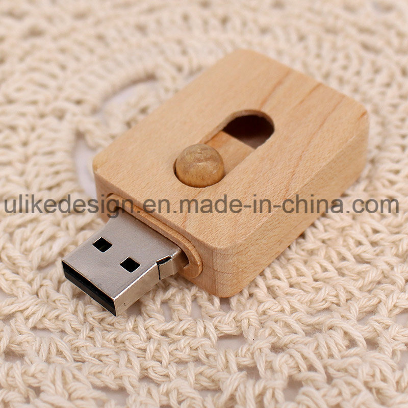 Mini USB Disk Sliding Wooden Promotion USB Flash Drive (UL-W015) pictures & photos