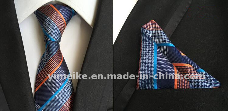 Stylish Polyester Silk Necktie Mens Tie Set with Hanky for Gift