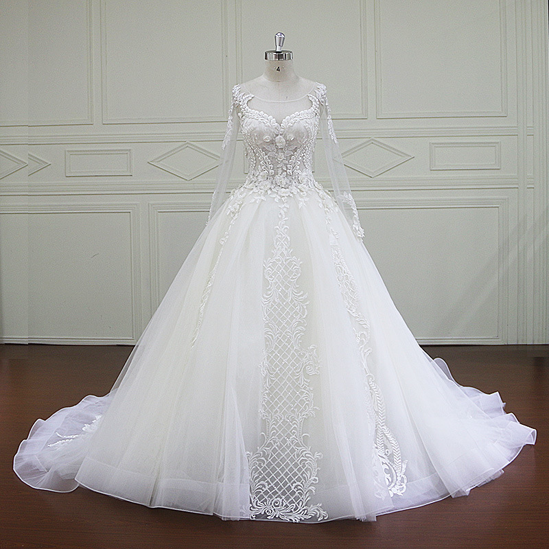 China 2016 Latest Long Sleeve Married Full Lace Bridal Wedding Gown ...