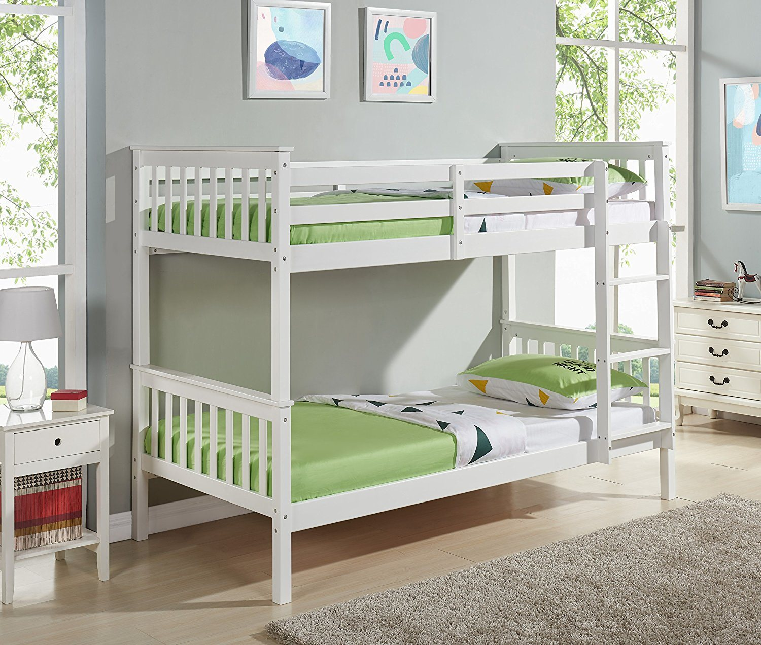 Solid Pine Wood Bunk Bed In White Color