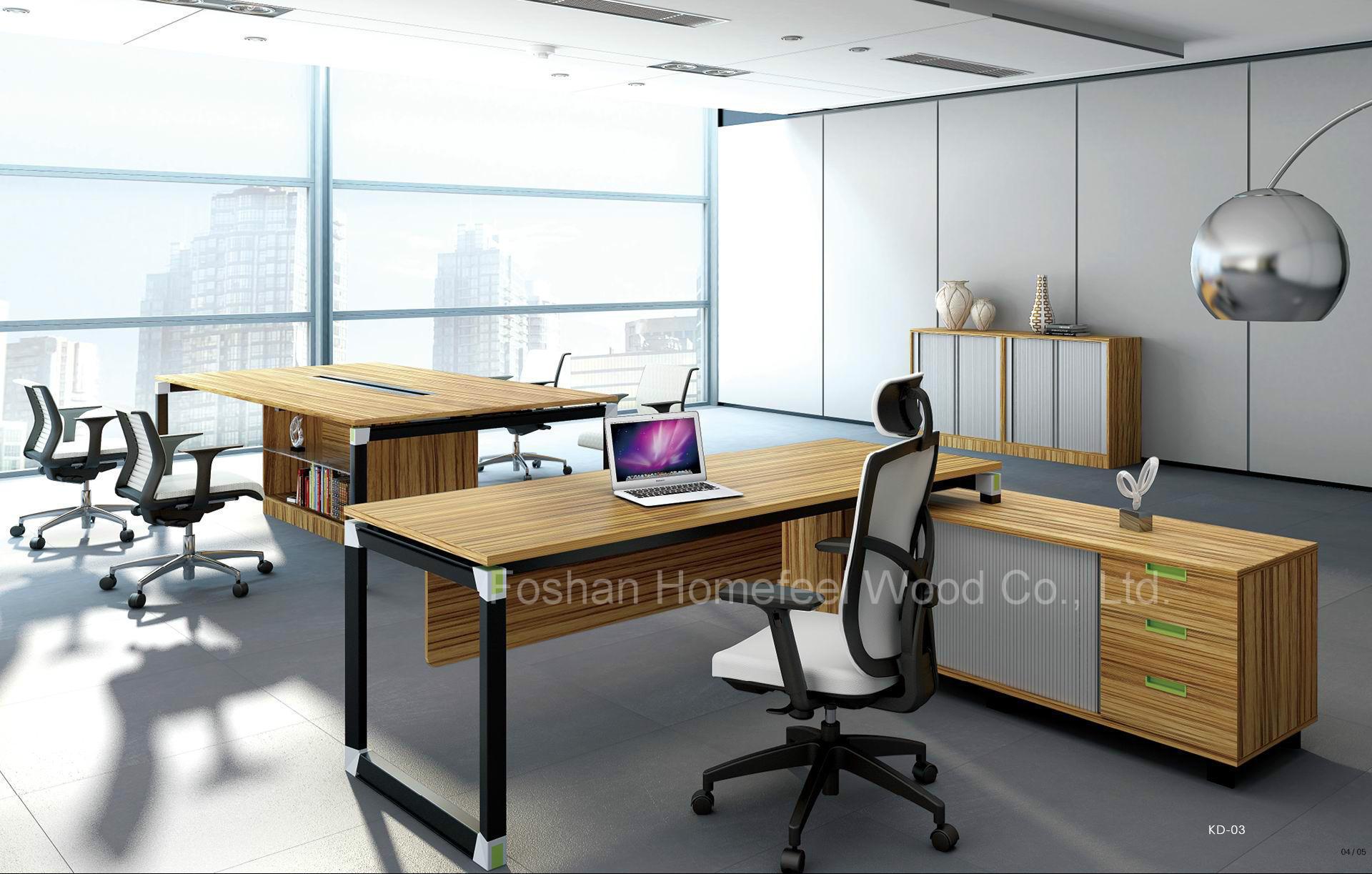 Luxury Melamine Executive Office Desk Set Manager Table Hf Kd03