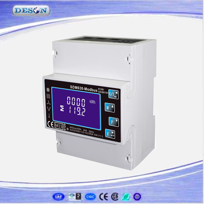 Single and Three Phase DIN Rail RS485 Modbus Household Watt Hour Power Meter Sdm630-Modbus