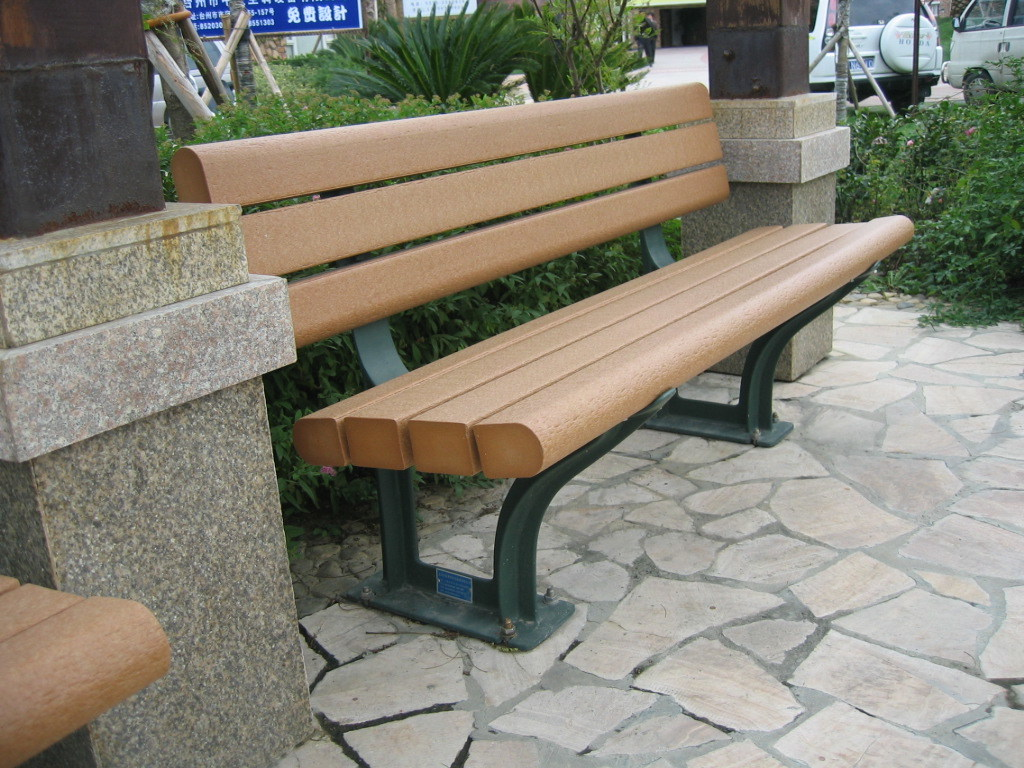 China Outdoor Furniture Plastic Wood Garden Bench Imitated ...