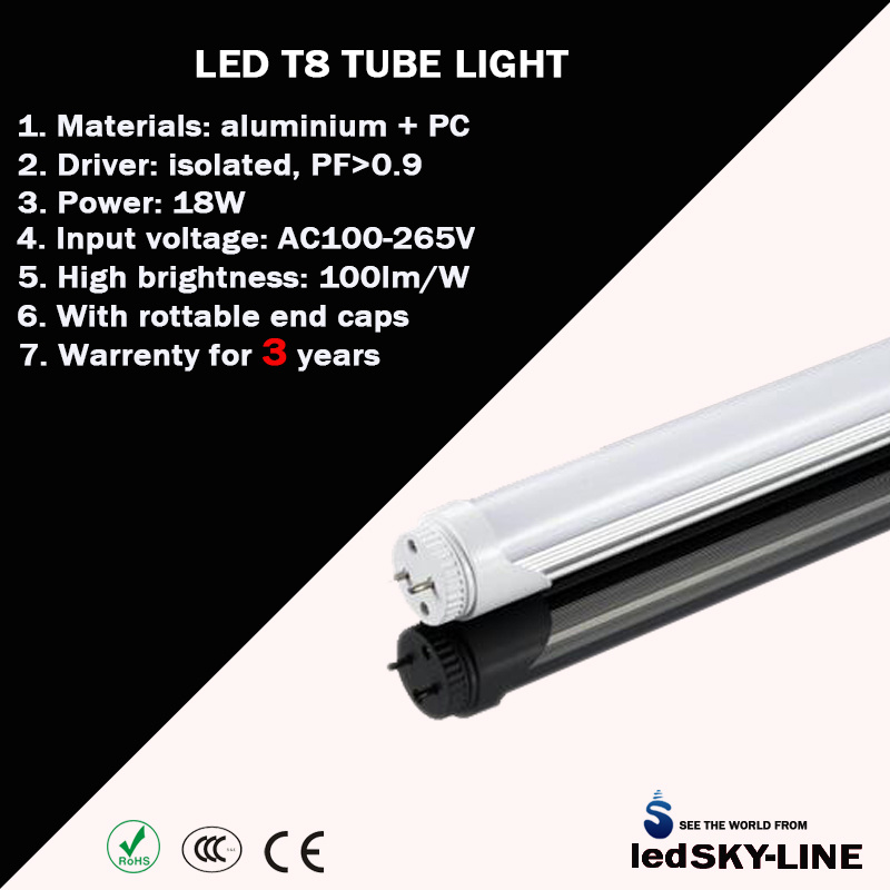 China 120cm 18w T8 Led Light Fixture With Isolated Driver Ce Rohs