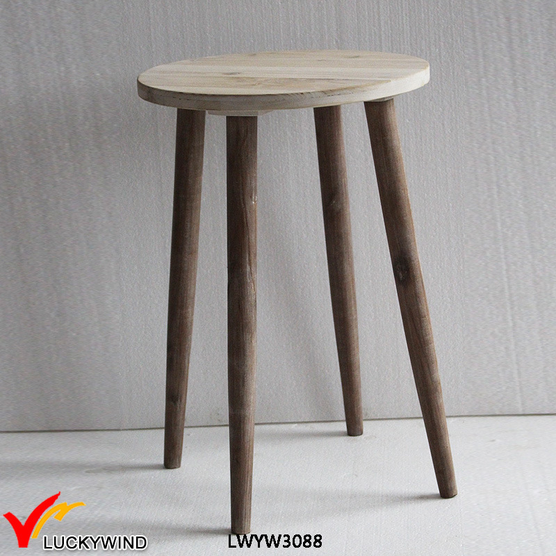 China Light Brown French Retro Vintage Round End Table   China Round End  Table, French Retro Vintage Table