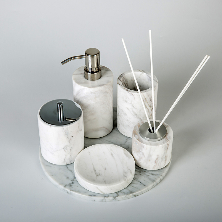 Accessories Set Marble White Bathroom