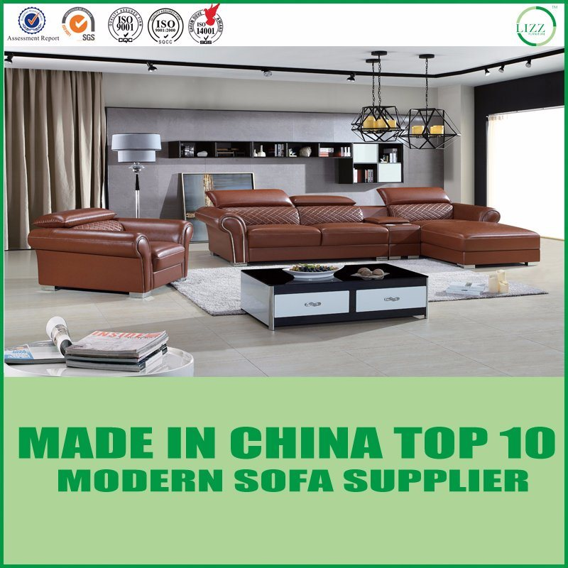 [Hot Item] American Modern Brown Italian Leather Sectional Sofa Couch