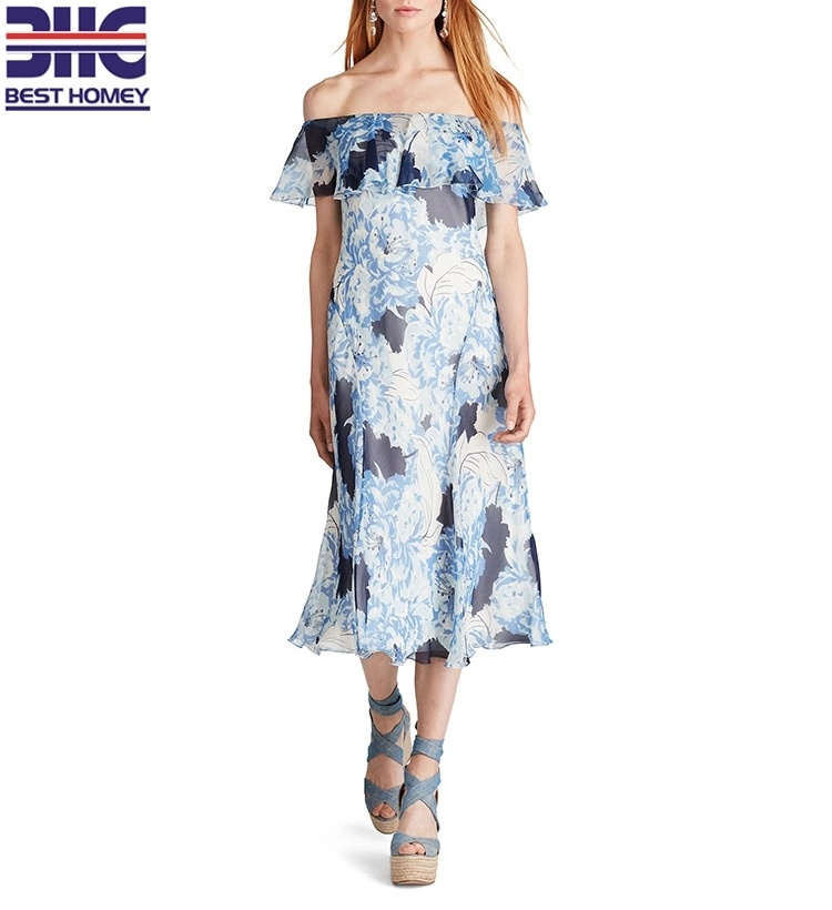 1cf4924acd60 China Womens 100% Silk off The Shoulder Dress Blue Palette Floral-Print  MIDI Length Dresses - China 100% Silk Dresses
