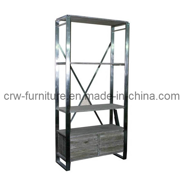Oak Modern Black Stainess Steel Frame Bookcase (MFF-109)