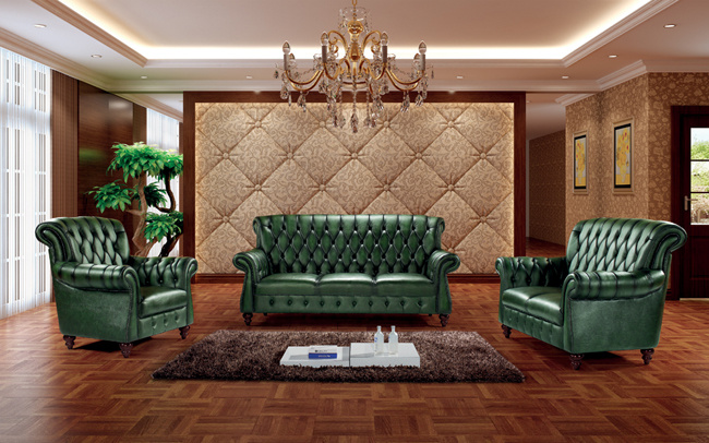 Green Leather Chesterfield Sofa Ms 11