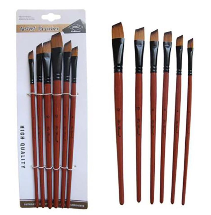 Professional Artist Paint Brush Set Long Wood Handle 6pcs Flat Shape Brushes