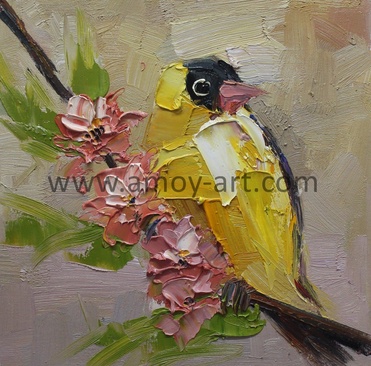 China High Quality Handmade Modern Palette Knife Bird Oil Painting ...