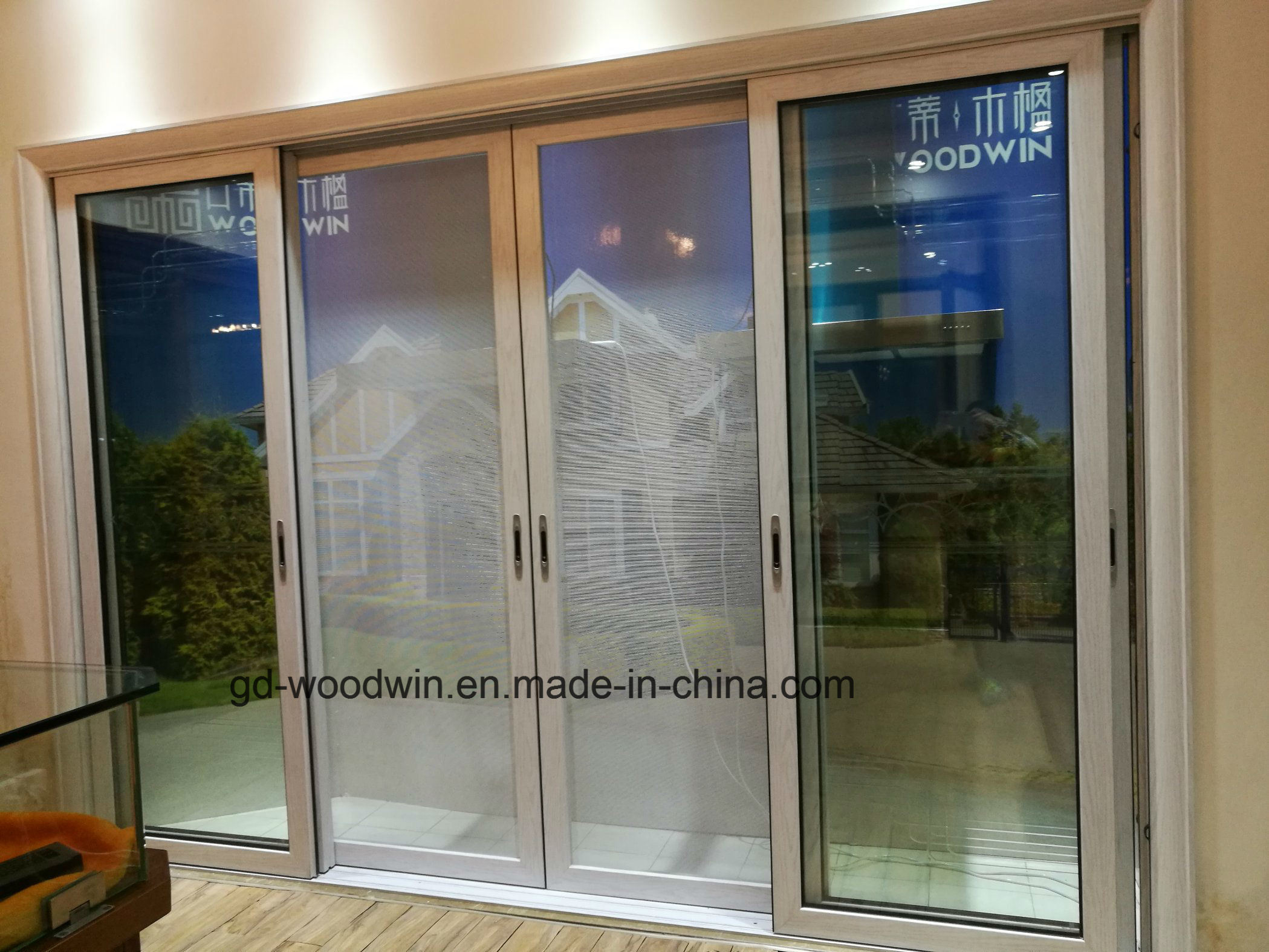 China Foshan Tempered Glass Sliding Door With Steel Net China