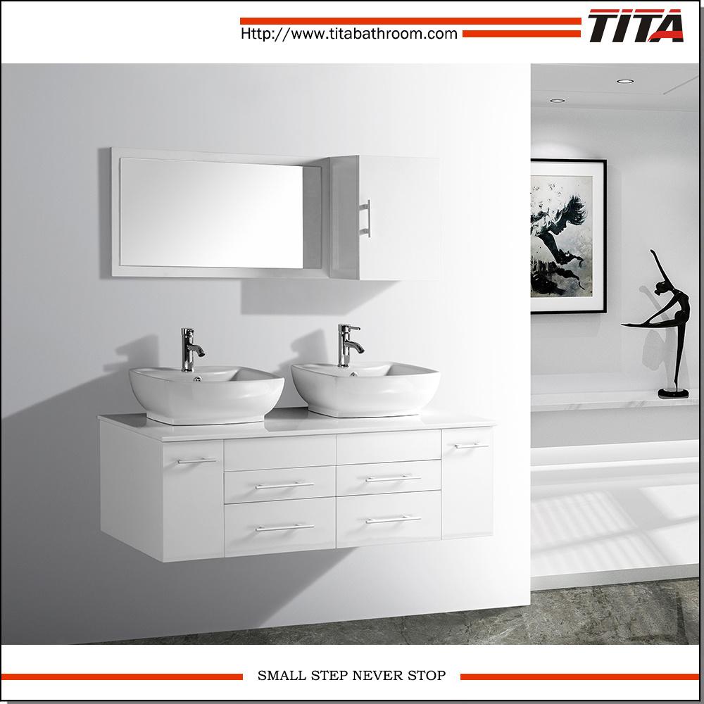 China Modern Bathroom Vanity White Double Sink Bathroom Vanity