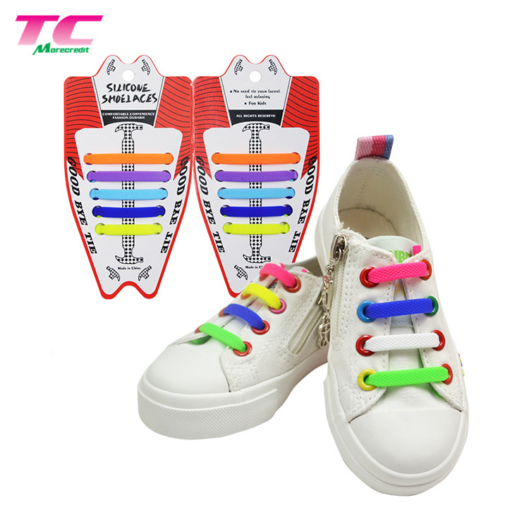 e23adc3ae2ae New Products Rainbow Bootlace Elastic Silicone No Tie Unisex Shoelaces for  Kids