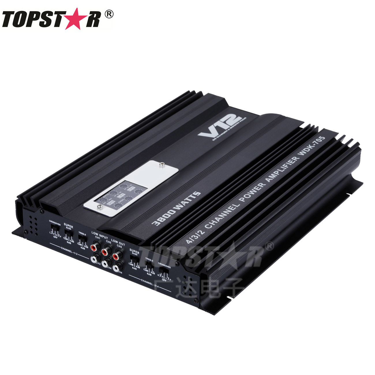 China 4 Channel 12v 4ohm Truck Car Audio Power Stereo Amplifier Amp