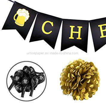 Umiss Paper Tissue POM Foil Balloons 30th Birthday Party Decoration