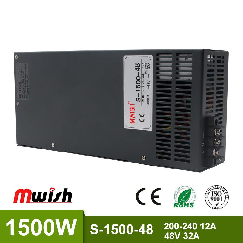 [Hot Item] 1500W 48V 32A Single Output Switching Power Supply Driver  Transformers 220V 110V AC to DC60V SMPS for CNC Machine DIY LED CCTV