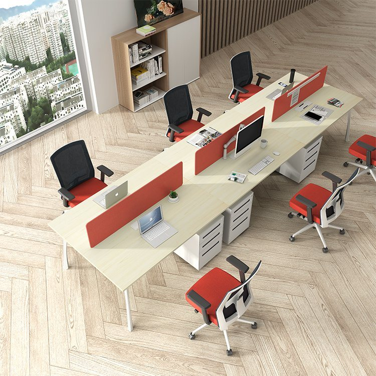 [Hot Item] Office Furniture Outlet 8 Person MDF Office Partition Wood  Office Workstation
