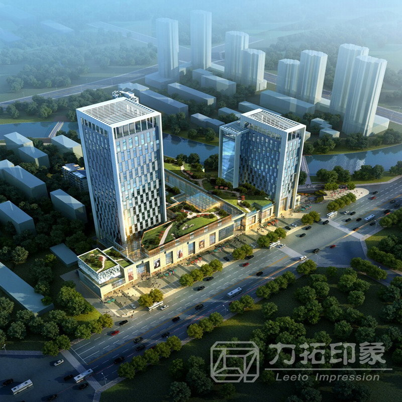 Industrial Light And Magic Render Farm: China Exterior Aerial View 3D Rendering