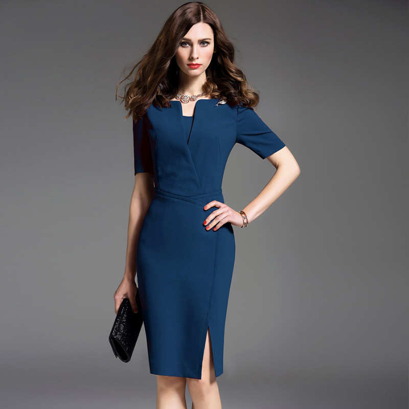 China Office Ladies Beaded Pencil Dress Pictures Semi Formal Dresses