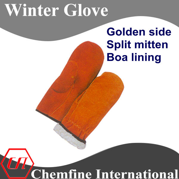 Golden Side Split Mitten, Boa Lining Leather Winter Glove