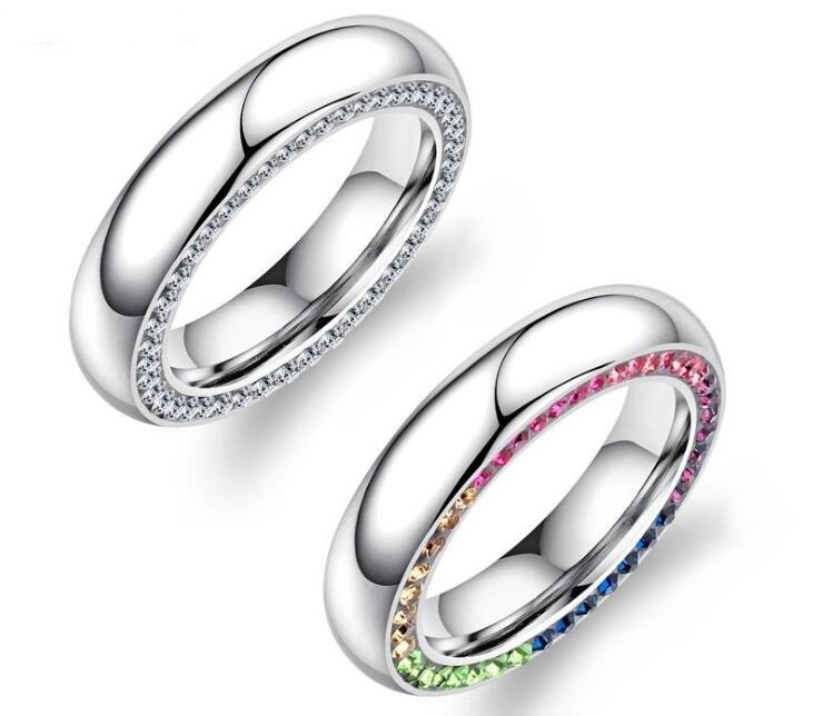 China Titanium Steel Side Inlaid Cubic Zirconia Ring For Party