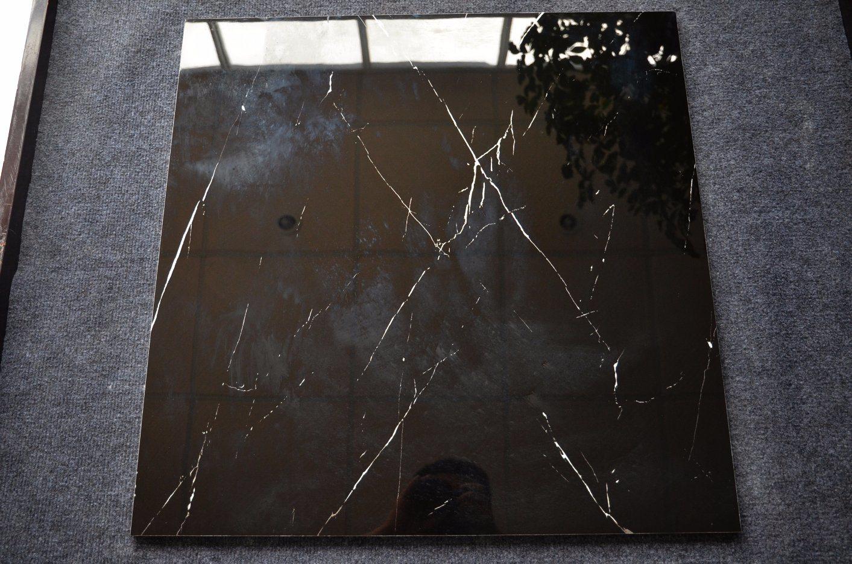 China Cheap Stone Black Ceramic Floor Tile Nero Margiua Glazed
