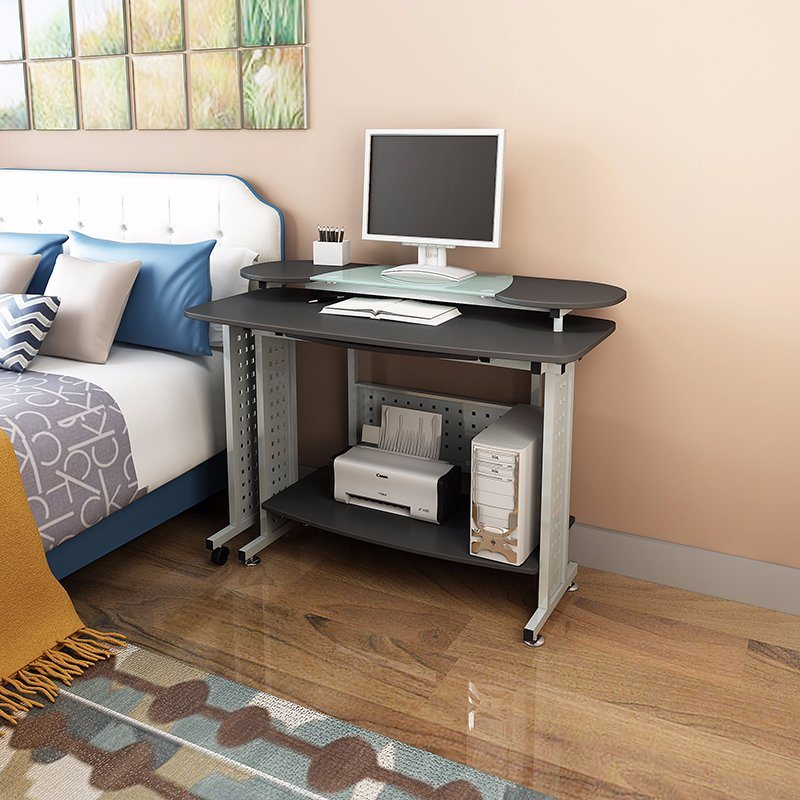 Modern Mdf Wood And Tempered Glass Folding Computer Desk