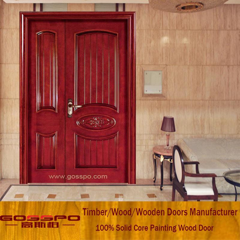 Hot Item Sapele Home Front Door Design Unequal Double Wood Door Xs1 009