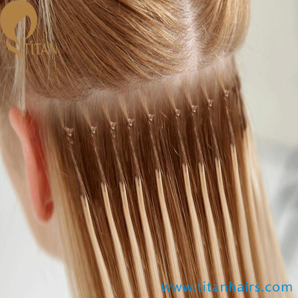 China Cotton String Knot Based Keratin Indian Remy Hair Extension