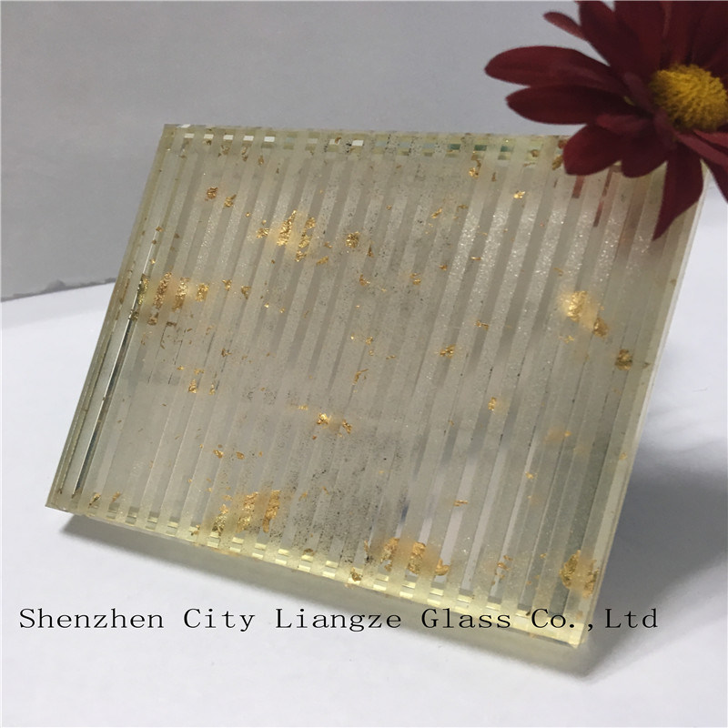 6mm+Gold Foil+6mm Ultra Clear Mirror Safety Laminated Glass/Tempered Glass/Art Glass