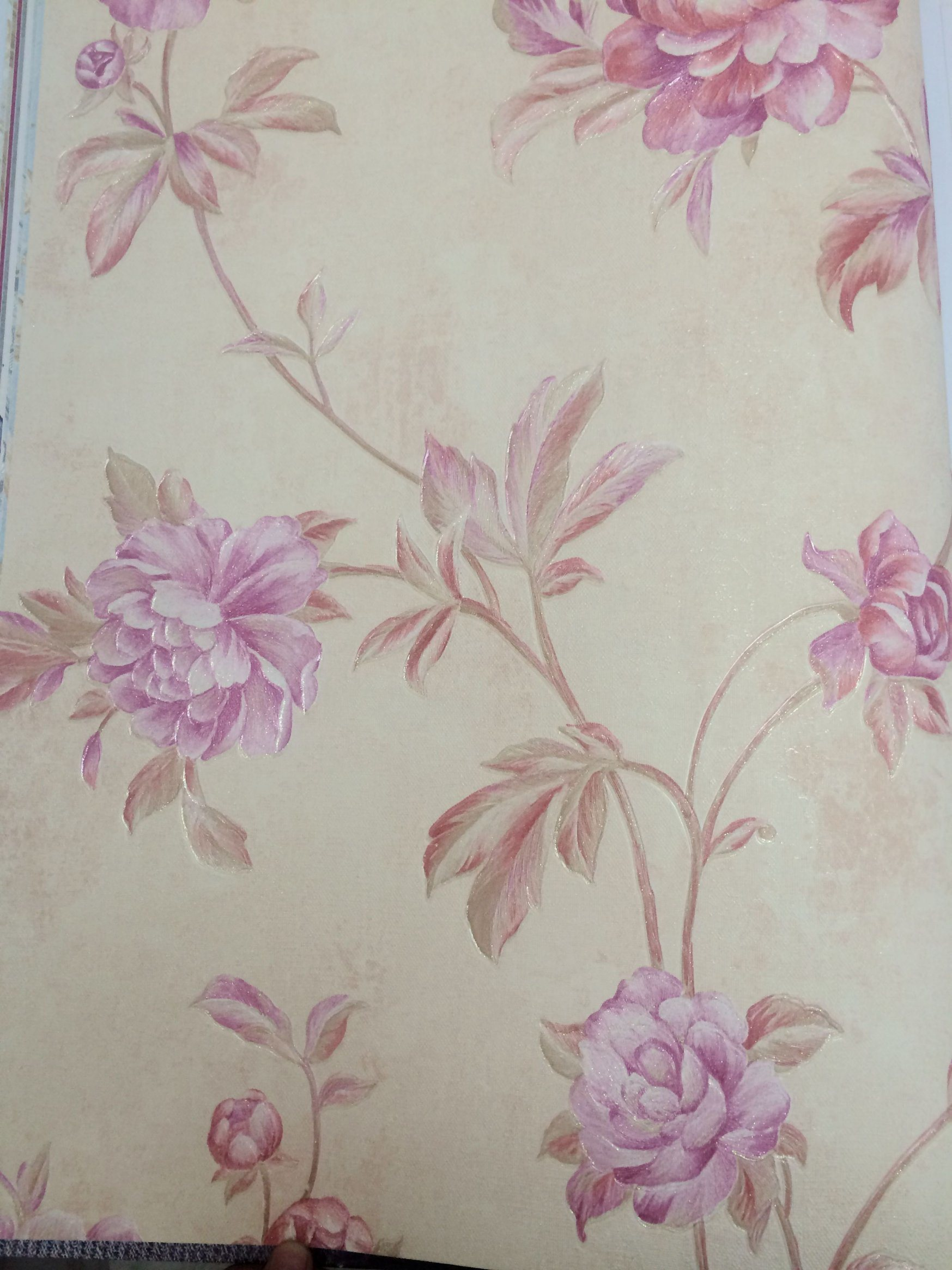 China 3d Pvc Coated Wallpaper Soft Pink Neat Stone Size