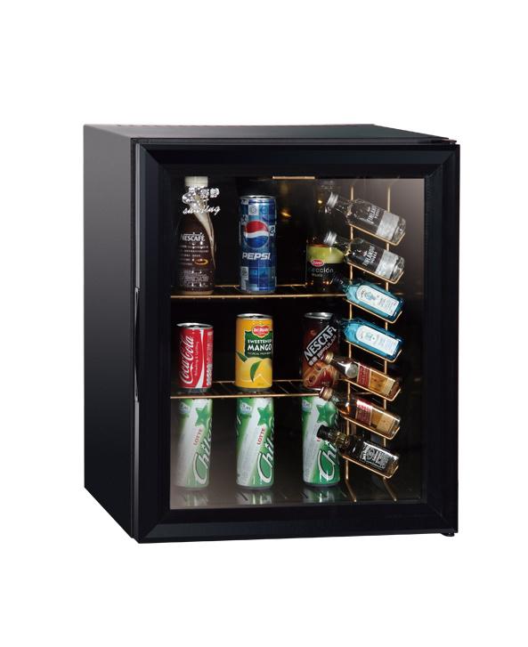 China Matt Black Glass Door Compact Refrigerator Display Chiller Hotel Minibars