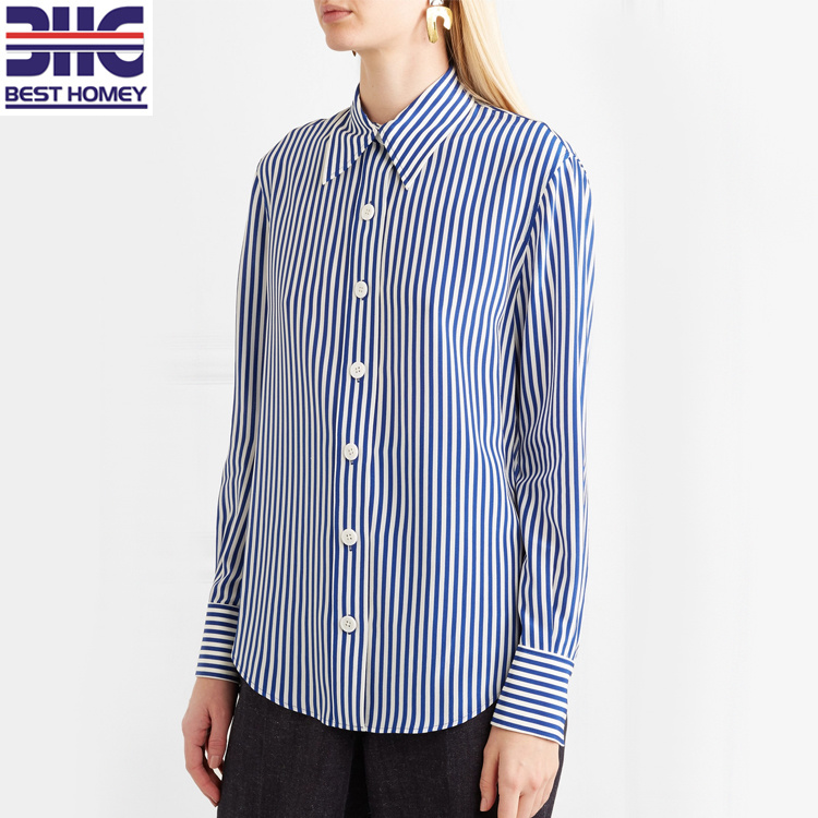 Striped Design Silk Crepe De Chine Shirts Womens Casual Button Blouses for Ladies pictures & photos