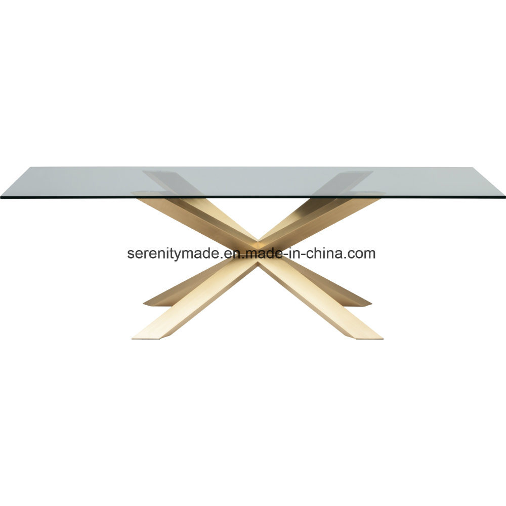 Modern design knock down metal gold base glass wood side dining table