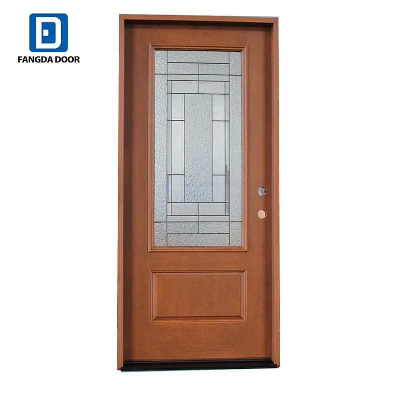 China Fangda New Design Mahogany Residential Exterior Entry Doors