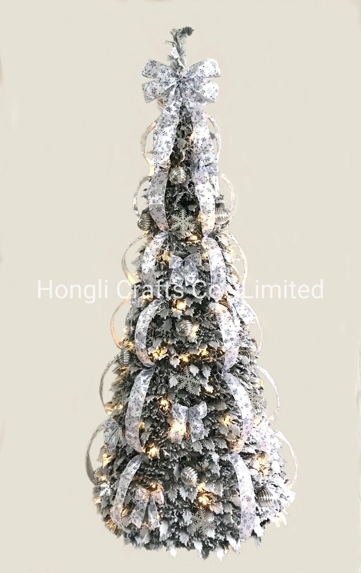 China 180cm Pre Lit Pop Up Dressed White Flocked Christmas Tree China Pop Up Tree And Chirstmas Tree Price