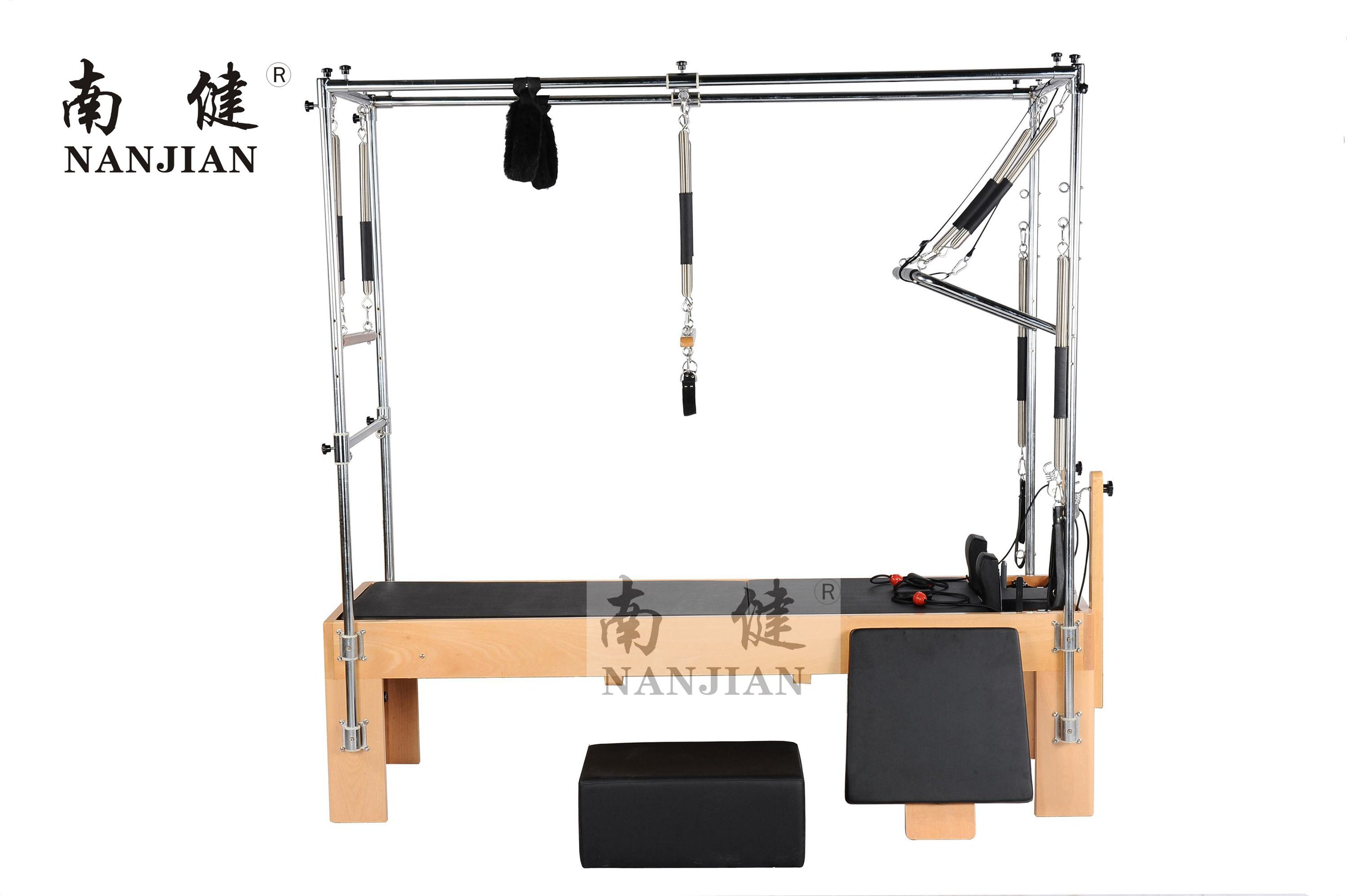 Nanjian Beech/Maple Wood and Stainless Steel Pilates Reformer with Full Trapeze