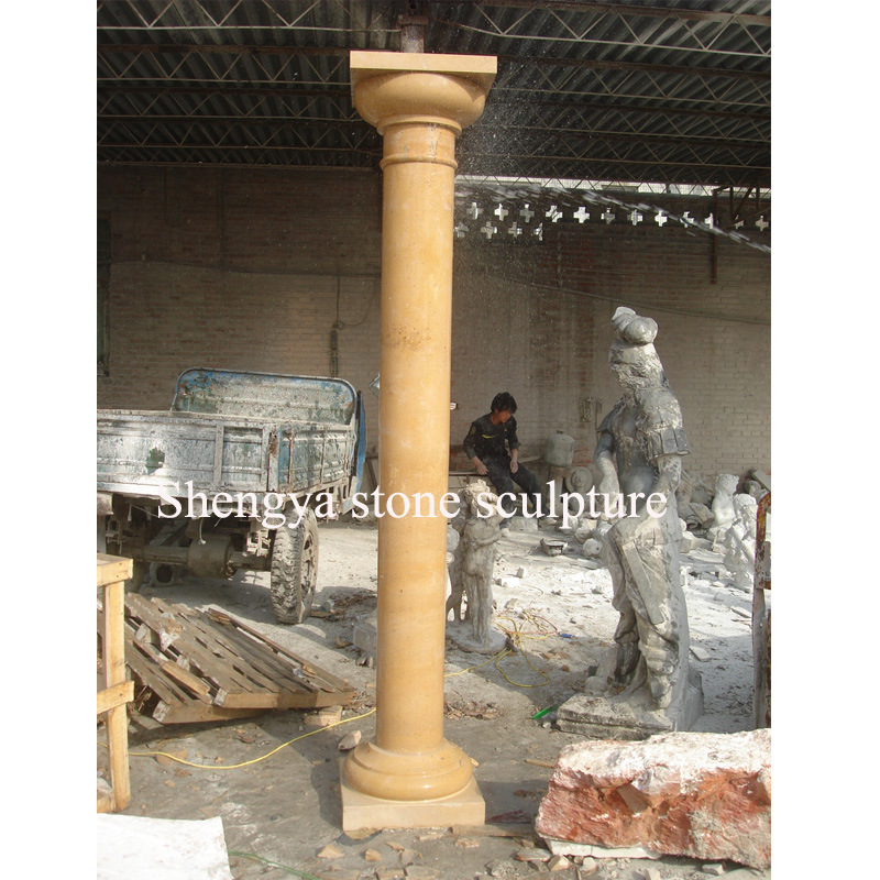 Gold Marble Stone Sculpture Column for Home Decoration (SY-C017) pictures & photos