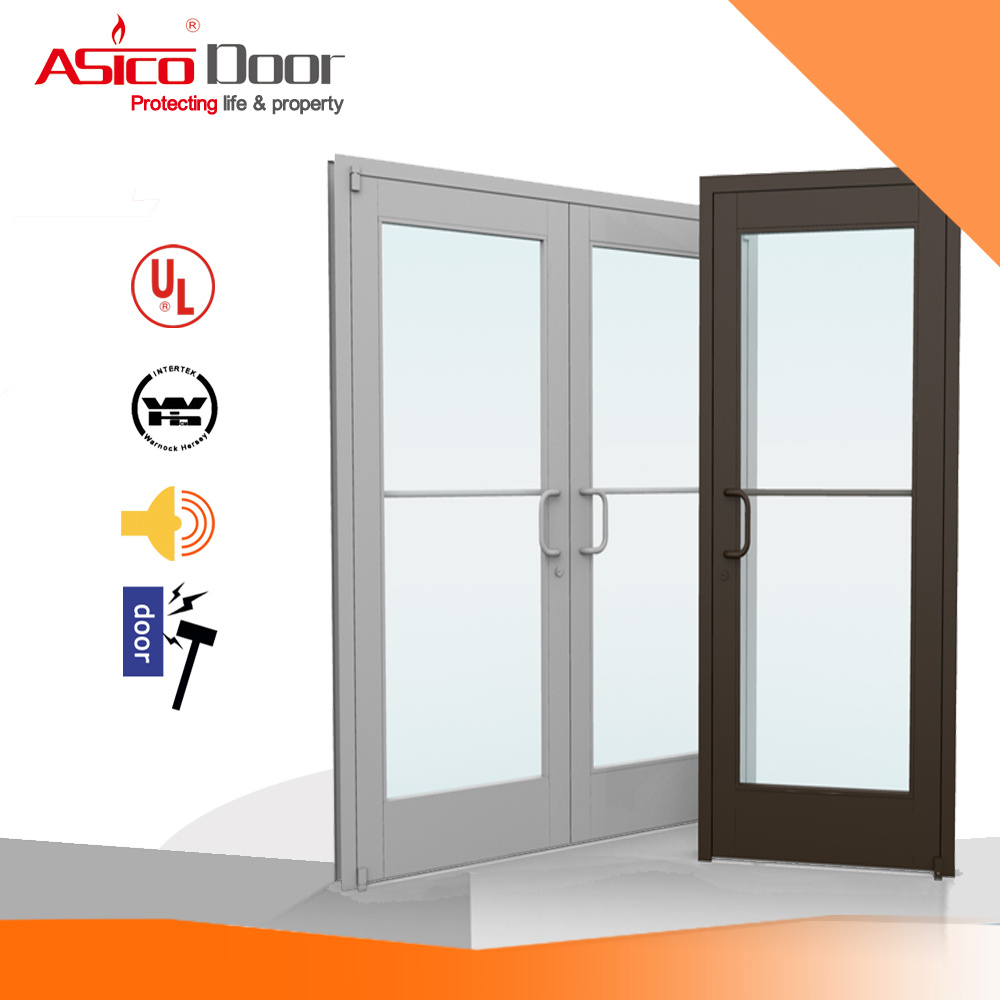 China Steel Metal Glass Door With Wooden Frame High Glossy
