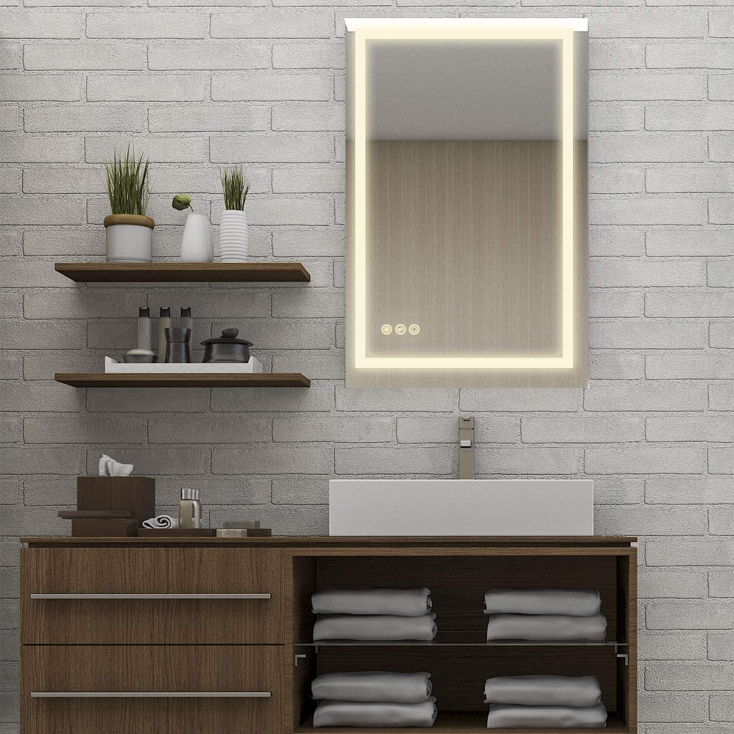China 24x36 Inch Super Slim Bathroom Mirror Horizontal Or Vertical Led Backlit Polished Edge Frameless Defogger Dimmer Touch Switch Copper Free Silver Backed China Smart Mirror Bathroom Mirror