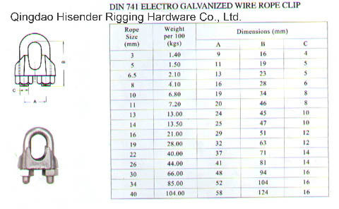 China DIN741 Wire Rope Clip, Drawing, Dimensions, E. Galvanized ...